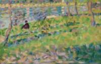 Paysage, homme assis (étude pour Un Dimanche d'été à l'Ile de La Grande Jatte